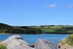 Camel Estuary, Cornwall (Gina Lessiter) Tags: uk shadow sea sky water rocks cornwall hill bluesky estuary hillside camelestuary