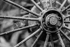 (atogdude) Tags: old blackandwhite bw wheel canon 50mm 18 lightroom staglands