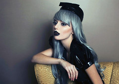 Anna (rachelmazzie) Tags: new anna black beauty hat fashion sarah dark hair clothing rachel chair elizabeth teal gothic goth hampshire lips wig ann hudson cosmetics mills shrug pvc artifice mazzie mua loreth