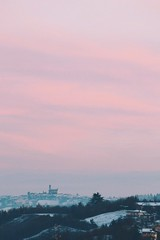 First snow of the year (Noemi Gallo) Tags: pink sunset italy white snow landscape grid twilight soft italia tramonto rosa hills piemonte neve inverno bianco paesaggio colline moncalvo 2013 vsco vscocam