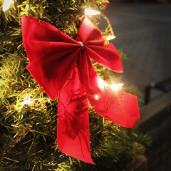 Festive Bow (thirdblade) Tags: lighting christmas xmas nyc light red brooklyn composition festive holidays warm decoration tie bow