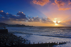Stormy Sea at Aberystwyth (John Ibbotson (catching up!)) Tags: sunset sea wild sun wales clouds coast seaside waves wind aberystwyth ceredigion photographyforrecreationeliteclub