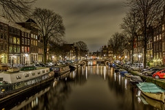 Amsterdam night (angheloflores) Tags: houses sky holland colors amsterdam night clouds reflections boats lights canal thenetherlands brouwersgracht