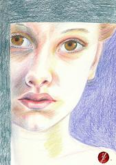 woman (bornschein) Tags: portrait woman moleskine illustration pain illustratedface