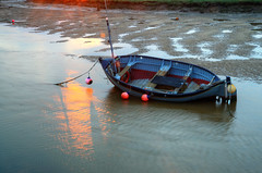 Last light of the day (Rich3012) Tags: uk light sunset sea england reflection coast boat fishing sand dusk tide north norfolk salt wells shore marsh stranded wellsnextthesea