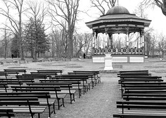 Waiting for the band (halifaxlight (back in late March)) Tags: park trees bw canada novascotia empty pedestrian seats april halifax bandstand halifaxpublicgardens theperfectphotographer