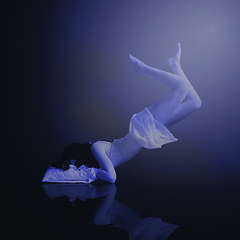 Trapped Between (Jo Sellick) Tags: blue girl dream floating levitation