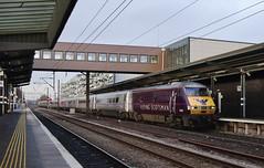 82205 Wakefield Westgate 25/01/2015 (Flash_3939) Tags: uk station train purple january rail railway eastcoast flyingscotsman dvt 2015 mk4 82205 drivingvantrailer 91115 bn10 wakefieldwestgate westyorkshirerover