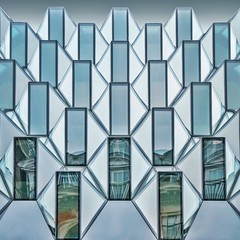 Spirits in the Material (Paul Brouns) Tags: windows sky urban reflection building london glass up lines architecture modern facade reflections poetry pattern looking steel patterns centre symmetry diamond lookup architektur higher facets architectuur