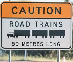 """Caution - Road Trains (Arthur Chapman) Tags: sign australia queensland roadsign croydon roadtrain geo:country=australia geocode:method=gps geocode:accuracy=100meters cautionroadtrains"