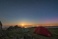 'Cadair Moonset' - Cadair Idris, Snowdonia (Kristofer Williams) Tags: camp sky moon mountain wales night stars landscape nightscape outdoor hiking peak tent aurora summit moonlight snowdonia moonset northernlights auroraborealis hillwalking cadairidris llynpeninsula wildcamp caderidris