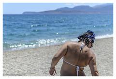 In the mood of... (s1nano) Tags: blue sea summer people woman beach back dof bokeh thalassa mavrovouni nikkorafs35mmf18gdx nikond7000