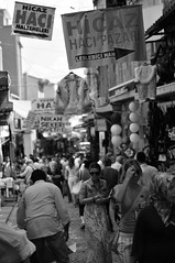 The place where women's favorite .. Tahtakale - stanbul (ilmikadim) Tags: street people blackandwhite black turkey shopping women market outdoor istanbul bazaar monocrome