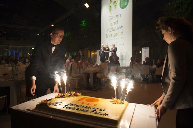 The celebratory cake arrives