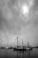 Boats (miguel_lorente) Tags: street city sea blackandwhite bw white black water boats cityscape bnw volendam edam