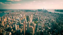 Manhattan Glow (Timothy Gilbert) Tags: nyc newyork yellow manhattan cyan wideangle panasonic empirestate ultrawide gx7 oneworldtradecenter olympus918mmf4056