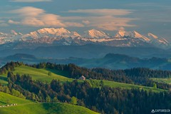 Sunset - Emmental (Sinar84 - www.captures.ch) Tags: blue trees sunset red sky orange brown sun white black mountains alps green yellow clouds forest buildings schweiz switzerland spring rocks swiss ngc gray may cliffs hills clear farms bern emmental schilthorn mittaghorn gemmenalphorn bluemlisalp luderen siebehengste