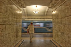 Colour Co-ordinated.....a ride on a Russian subway (Rosey-Noelle) Tags: marble anythinggoes subwaystations hollandamerica balticcruise stpetersburgrussia zuiderdam hoiiday canonsl1 tanandcream russiansubwaystations