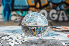 Berlin Wall - Street Art (martijnvansabben) Tags: street streetart streets berlin glass wall ball germany photography graffiti europa europe paint streetphotography eu olympus berlinwall stunning walls effect duitsland muur crystallball germanytoday mzuiko olympuseurope olympusomd