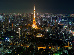 City Light (Ted Tsang) Tags: longexposure travel tower japan skyline night landscape tokyo cityscape nightscape olympus  tokyotower roppongi  roppongihills  minato observationdeck   em1 lighttrail     voigtlandernokton25mmf095