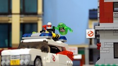 Along for the ride (Hobbestimus) Tags: movie toys lego cartoon 80s firehouse ghostbusters slimer moc ecto1