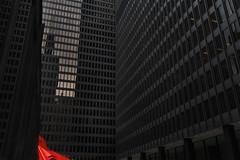 red- (Neal Edelstein) Tags: city windows red chicago black art architecture buildings illinois artist calder alexander sculptur