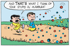 And that's what I think of your stupid ol' marbles! (Tom Simpson) Tags: illustration vintage comics peanuts 1954 1950s angry comicstrip marbles charliebrown charlesschulz marble frustration frustrated charlesmschulz lucyvanpelt newspapercomics
