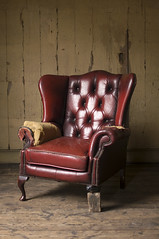 June 29th 2016 - Project 366 (Richard Amor Allan) Tags: naturallight chair red redchair armchair tatty torn leather leatherarmchair floorboards project366