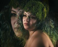 Seeing Double (halelinda) Tags: portrait woman green hair model nikon key exposure low double profoto strobist