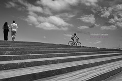 step by step (michele franzese) Tags: badalona ponte airelibre blancoynegro monocromtico bw steps sky clouds barcelona panasonic lumix gx8