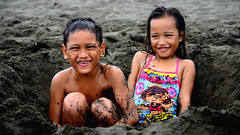 """Beach Day""   Point Venus   Tahiti   French Polynesia (Ben Molloy Photography) Tags: people playing beach children french point fun blacksand polynesia sand venus hole tahiti beachday  "