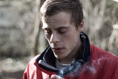 Untitled (JRS-IW-Photography) Tags: uk portrait england man colour nature canon person cigarette candid smoke hampshire dslr isle wight muted