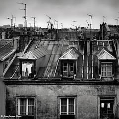 0378 - Les toits de Paris, 1974 (ikaune) Tags: nb bw noiretblanc blackandwhite ikaune argentic argentique monochrome rolleiflex paris toits