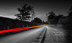 """Tracers"" (-Mark Bean-) Tags: auto road fiction light shadow sky bw white motion black colour home topf25 car night painting drive evening movement saturated long exposure driving glow outdoor wheels trails science journey lane midnight scifi laser missile fi tracer roads sci lazer tracers selective sy 2016 monocrhome fy syfy"