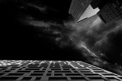 ...whisperingnetwork... (ines_maria) Tags: vienna sky clouds skyscraper monochrome pov up city urban moon wien living