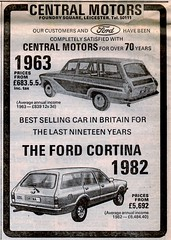 1982 ADVERT CENTRAL MOTORS FOUNDRY SQUARE BELGRAVE LEICESTER - 1963 CORTINA - 1982 CORTINA (Midlands Vehicle Photographer.) Tags: cortina foundry square 1982 leicester central motors advert 1963 belgrave