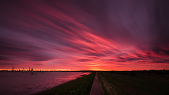 Sky Fire (Scott Baldock) Tags: light sunset red sea england sun seascape motion london thames night clouds docks landscape island coast seaside blood nikon long exposure cloudy 10 tide low estuary east stop filter tamron refinery essex tilbury lightroom southendonsea coryton canvey nd110
