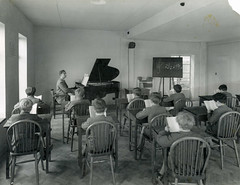 Music lesson (benicektoo) Tags: school england music vintage children piano teacher lesson vintagephotographs vintagechildren foundphotographs