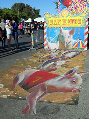 San Mateo County Fair (danieljsf) Tags: art pig chalk drawing sidewalk races hog oink sanmateocountyfair