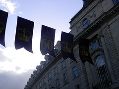 Celebrating queens 60 years coronation banners purple gold Regent Street London England 15th June 2013 15-06-2013 17-30-08 (dennoir) Tags: