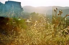 sunset (cestlachatnoir) Tags: sunset analog canon exposure ae1 double santorini kayakoy kodak200asa