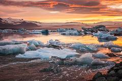 Ice on fire (LaStef) Tags: sunset summer mountain lake ice iceland glacier jkulsrln