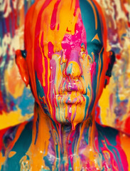 Paint Self Portrait (noamgalai) Tags: portrait selfportrait color colors face colorful paint covered oil facepaint noam allrightsreserved waterbased siteportraits