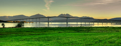 Sandnessundbrua, Troms, Norway (Jakub Jerabek) Tags: ocean road bridge sunset mountain mountains green nature water norway concrete nikon north tromso sandnessundbridge flickrbestpics nikon35mmf18 nikond5100