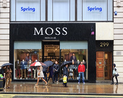 Moss 299 (stevedexteruk) Tags: street west london window wet rain fashion shop umbrella photography store moss clothing display pavement candid oxford mens end pedestrians umbrellas downpour 299 2013