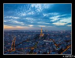 paint in blue (Cdric W.) Tags: paris olympus toureiffel nuit tourmontparnasse epl3