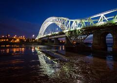 The BRIDGE - MK2 (EugeneEverson) Tags: longexposure bridge blue light sunset water night river cheshire tidal mersey runcorn