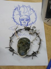 Verklrte Nacht - WIP - 5 (the justified sinner) Tags: moon skull wire nacht brooch wip jewelry schoenberg diamond panasonic jewellery workshop 20mm barbed labradorite f17 gx7 justifiedsinner verklrte