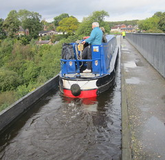 High up canal barge (Tony Worrall Foto) Tags: bridge boat canal high crossing place photos candid north over visit scene images aqueduct area float barge llangollencanal carries llangollen the riverdee northwales 2013tonyworrall pontcysyl