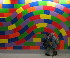 """The instant before the kiss"" - Subway platform, NYC (TravelsWithDan) Tags: nyc newyork art subway mural candid streetphotography kisses lovers publicart worldtrekker stphotographia"
